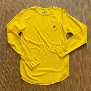 American Eagle Waffle Knit Yellow Shirt